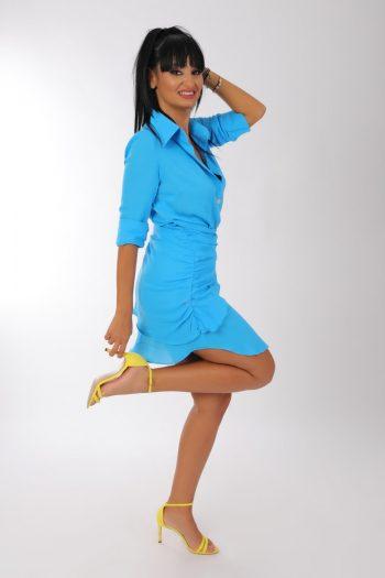 Camasa albastra cu maneca lunga