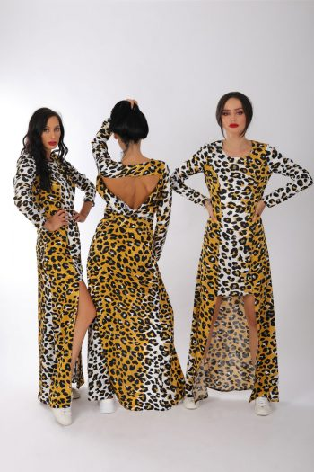 Rochie leopard, galben ,alb